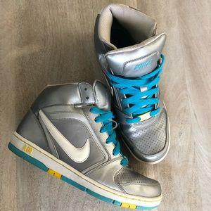 Womens Nike Dunk High Top Metallic Silver Sneakers